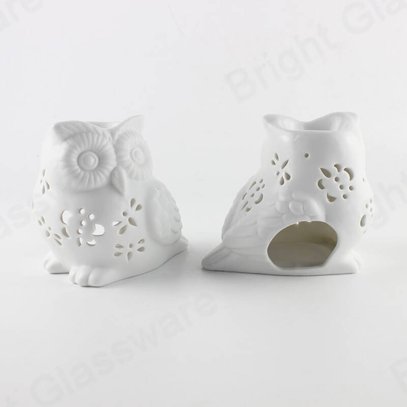 home aroma essential oil incense burner ceramic white owl tealight candle holder