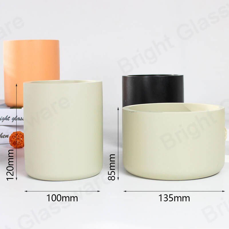 custom cement candle jar concrete candle holder for home decoration