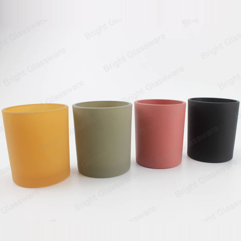 custom spraying colored round empty matte glass cup candle holders for decoration
