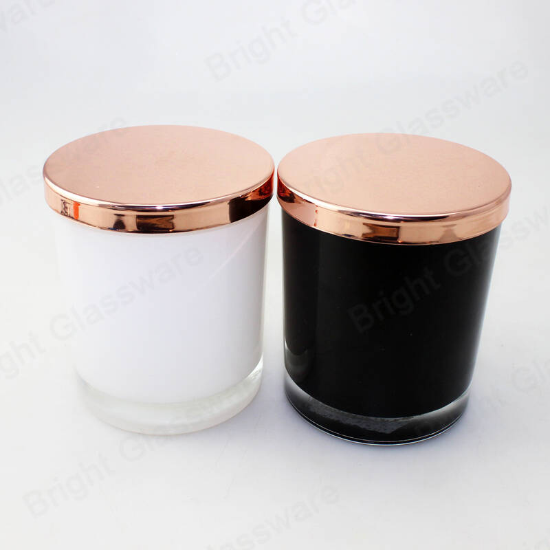 smooth yellow/black/white glass 300ml candle jars with rose gold lid