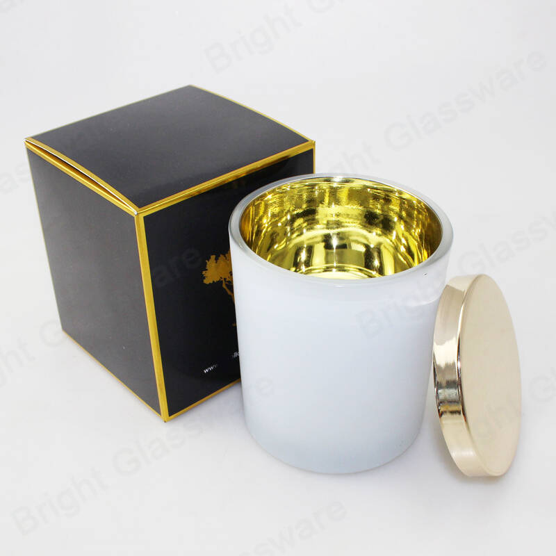 empty plating gold white 10 oz candle jars with lid and packaging box