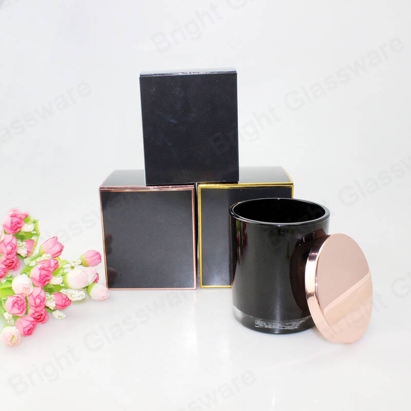 luxury black candle box packaging glass candle jars with metal lid