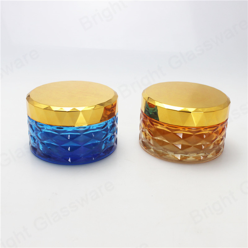 luxury skincare body cream jar cosmetic container glass with lid