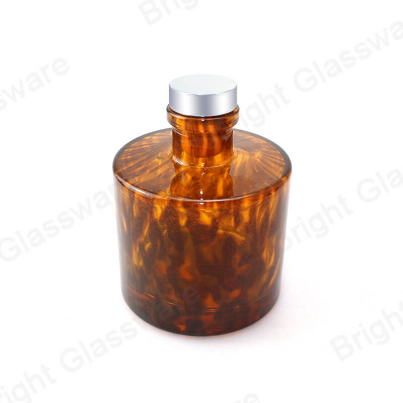 200ml fashion leopard print reed diffuser glass bottle with cork for room aroma