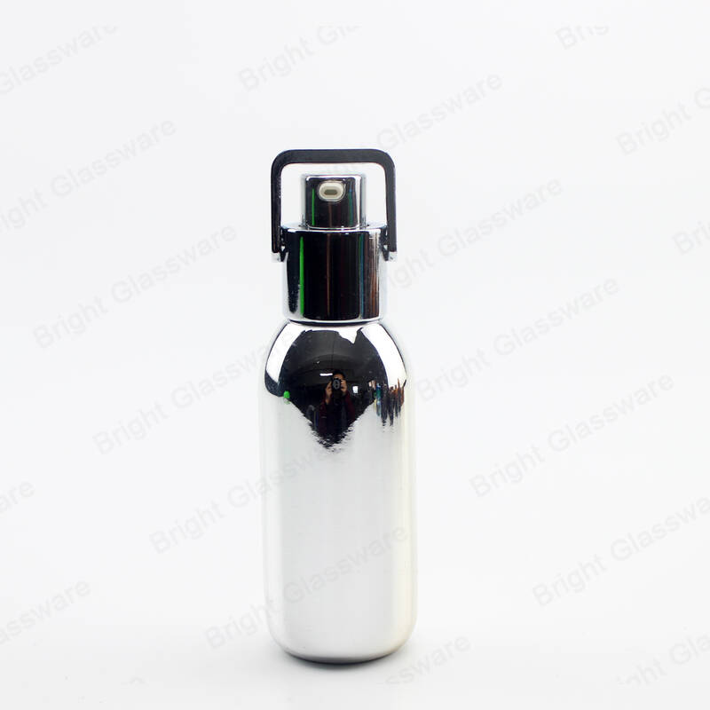 creative glass lotion bottle silver cosmetics bottles with pump