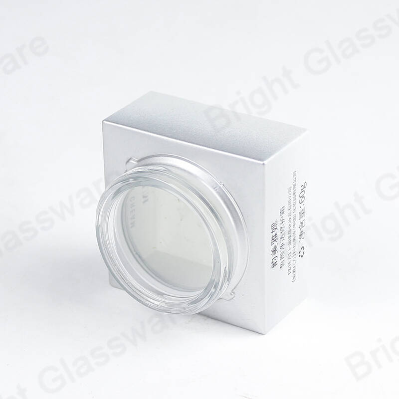 custom OEM white glass square cosmetic cream jar packaging
