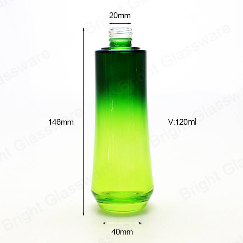 luxury cosmetic packaging glass cream jar set green glass cosmetic bottle