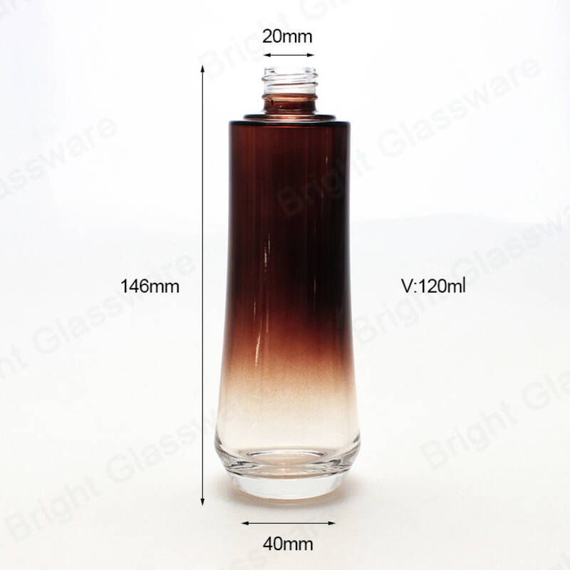 Wholesale 150ml 120ml 100ml 50ml brown lotion pump glass bottle set cosmetic packaging