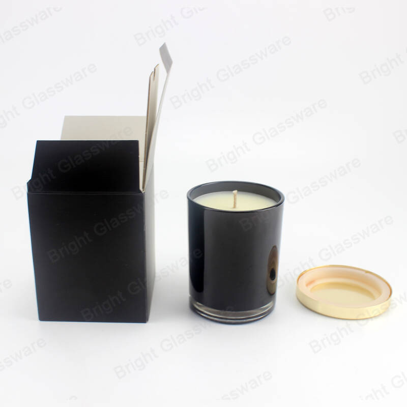recycled black candle jar with box and metal lid for sale