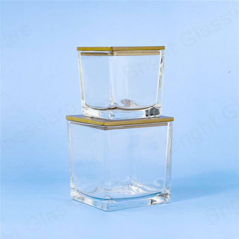 Merry Christmas gift luxury glass square candle jars with wooden lids and packaging box