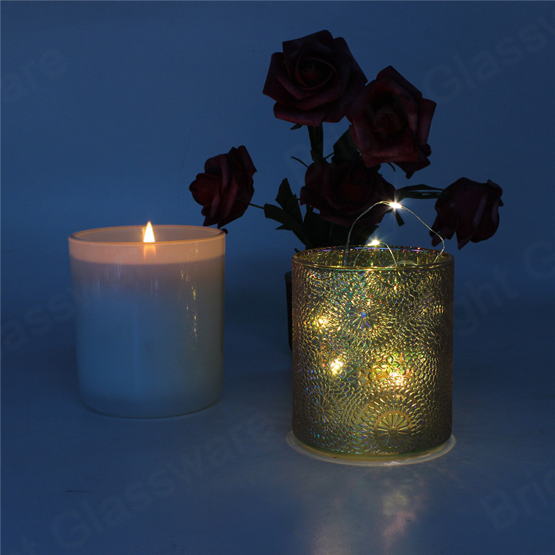 Custom colorful rainbow battery operated glass candle holder with fairy lights inside for Christmas decoration