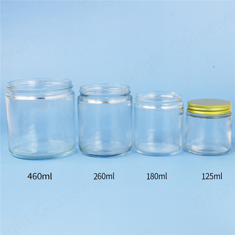 Cheap clear/black 15oz 8oz 6oz 4oz wide mouth straight sided glass jars with aluminium lid