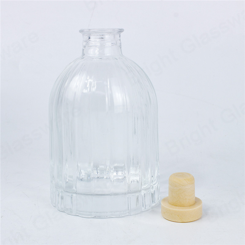 8oz glass clear reed diffuser bottle with cork stopper and sticks