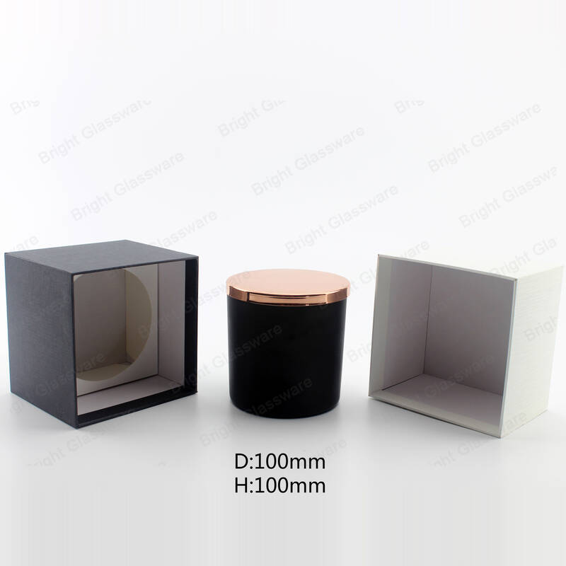 white and black linen candle boxes packaging gift set with glass candle jar and lid wholesale