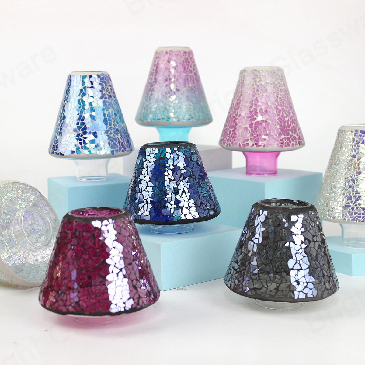 colorful stained glass mosaic lampshade for outdoor garden home decoration