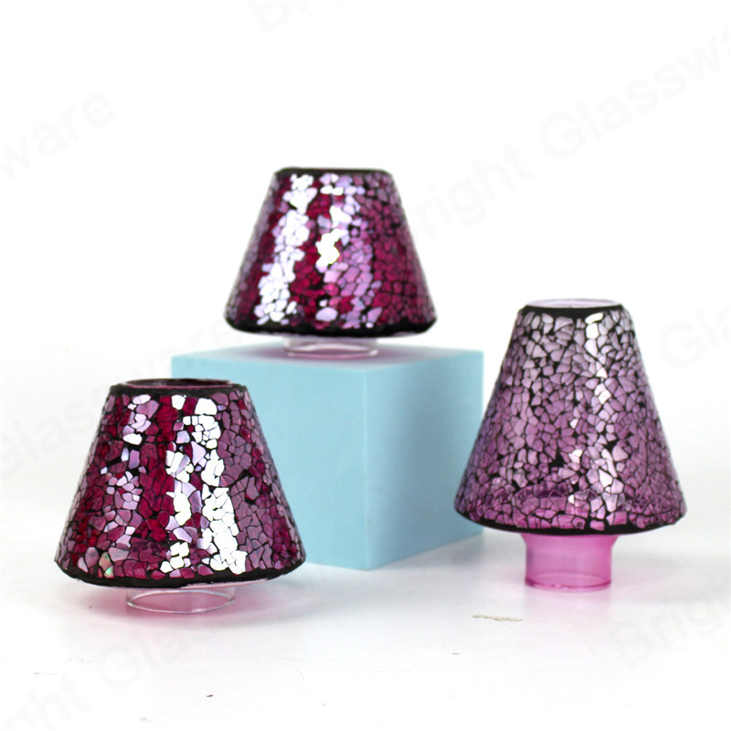 simple designs turkish moroccan glass purple mosaic lamp shade