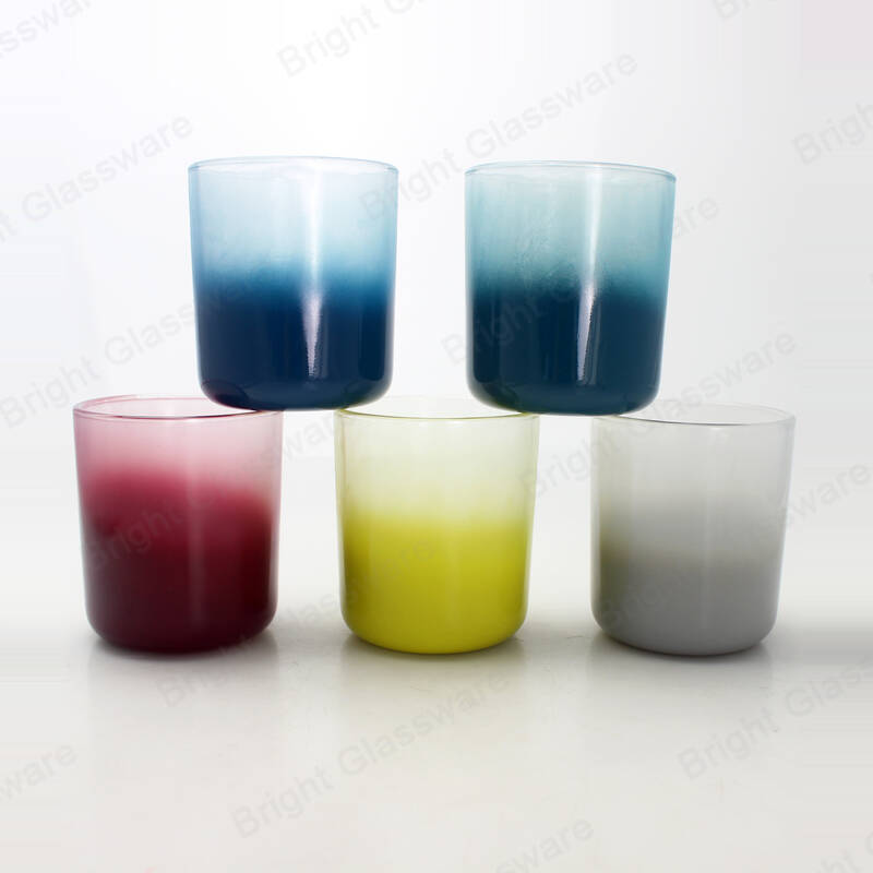vogue fade color candle holder spray gradient glass candle jar