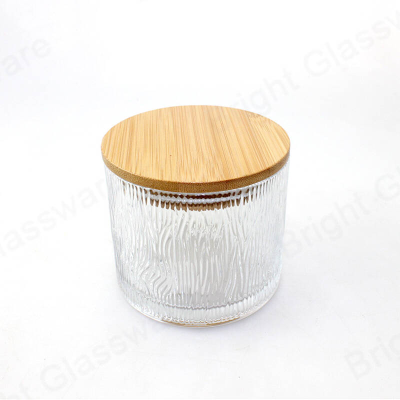 thick walled vintage clear glass candle holders with bamboo lid for sale