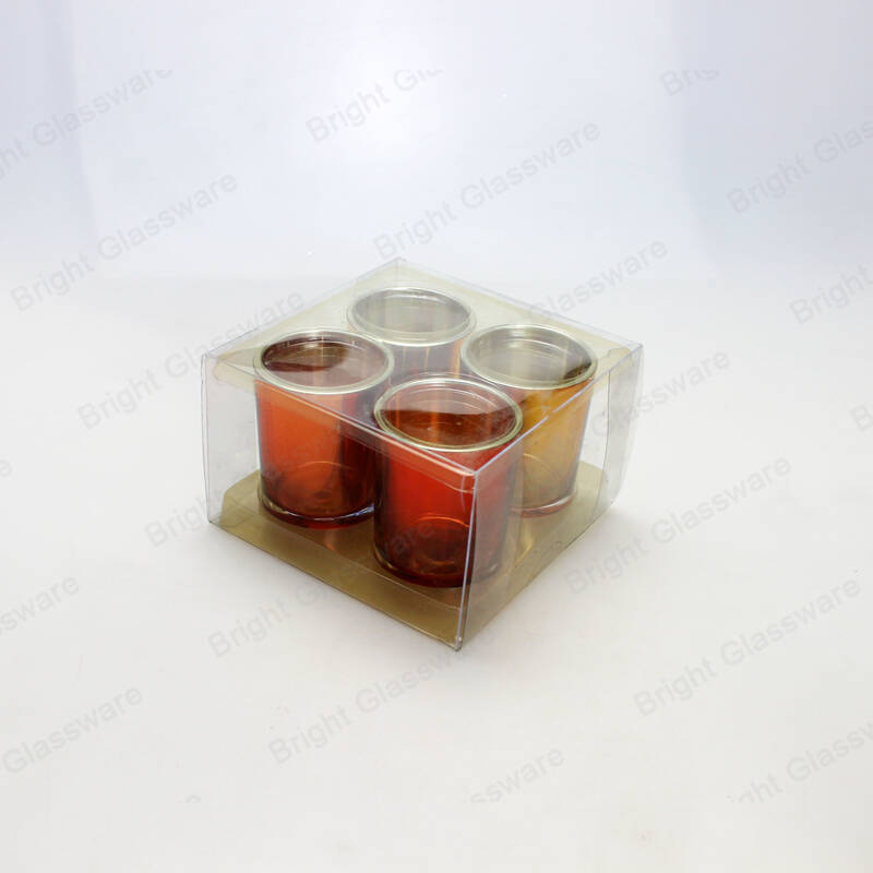 luxury 4 pcs Christmas gift set small votive candle holders glass
