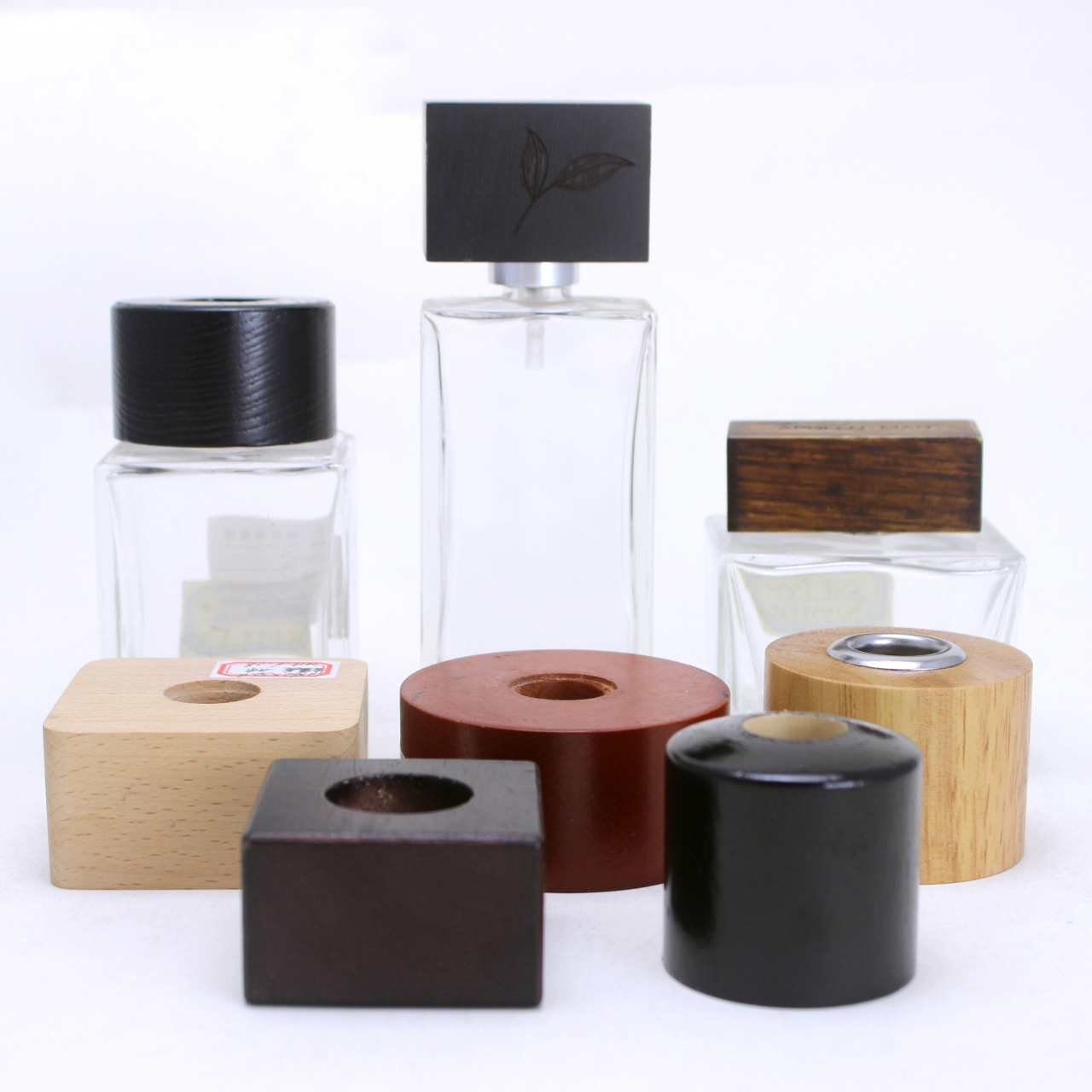 high quality round and square shapes reed diffuser wooden cap for glass diffuser bottle