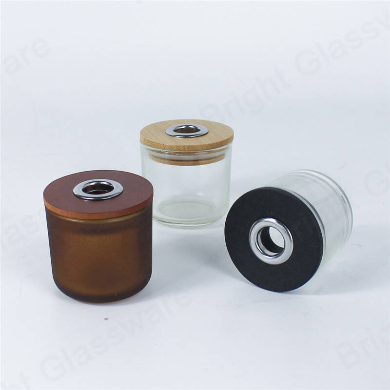 air fragrance glass reed diffuser bottle with wooden lid