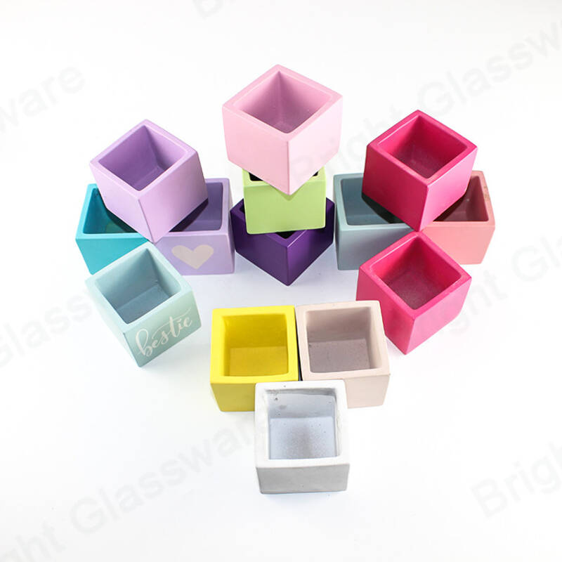 custom fashion home and garden colorful square concrete planter pots