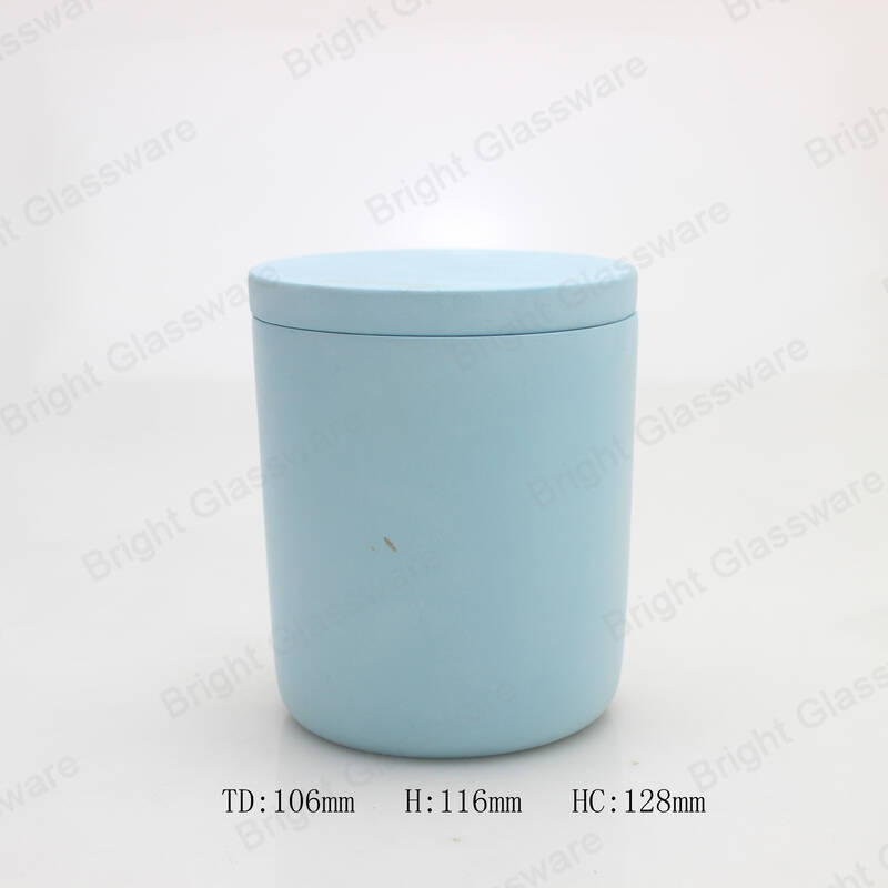 cement candlesticks blue concrete candle holder with lid