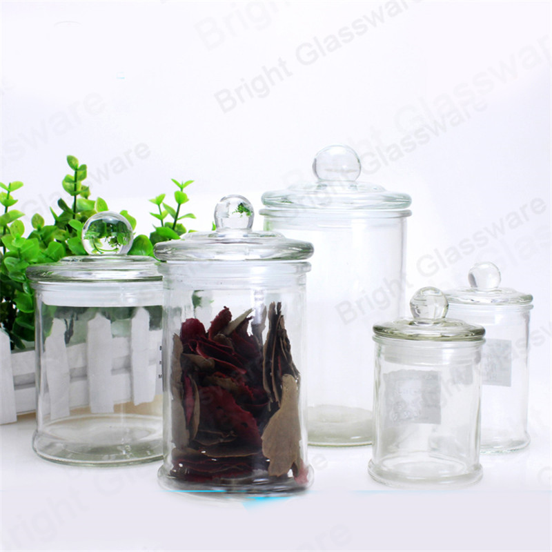 clear glass danube jar with knob lid for candle making