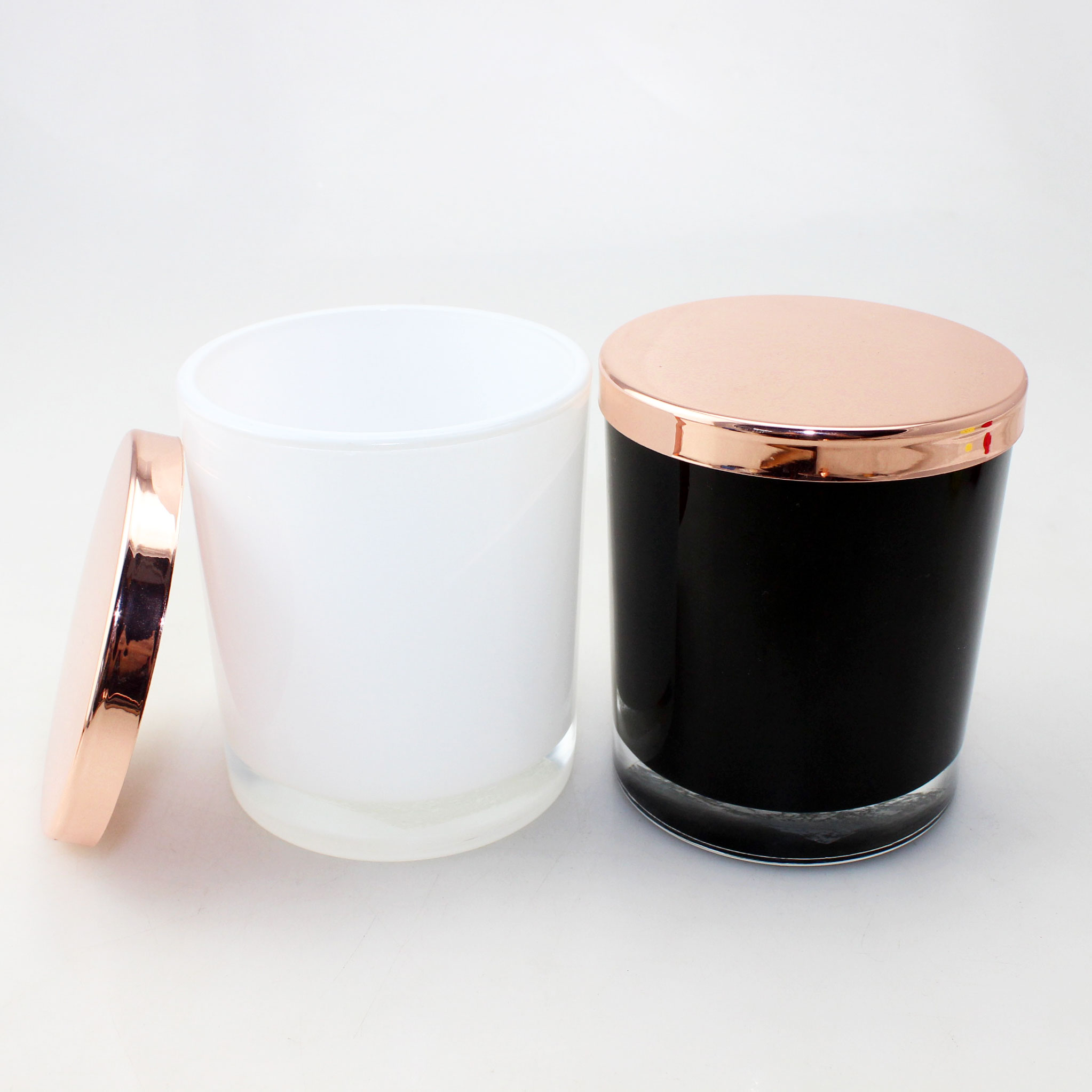 10 oz elegance medium base opaque black oxford jar with rose gold lid