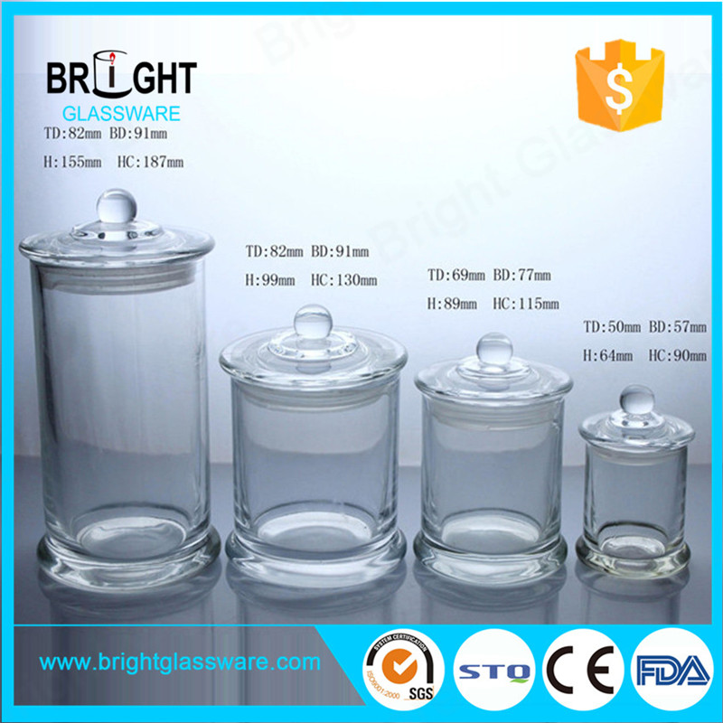 different size clear metro jars with knob lid