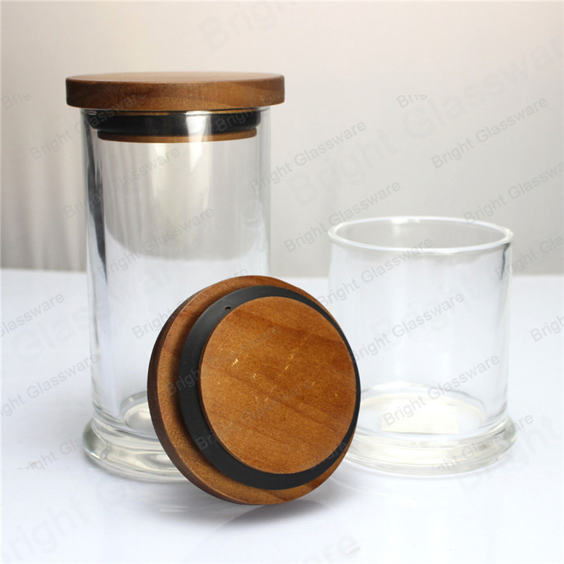 sealed clear glass apothecary jar with wood lid