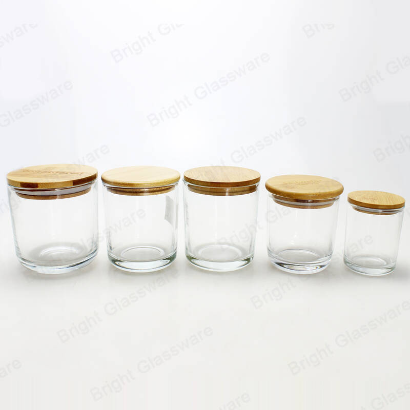 small medium large base clear glass Cambridge candle jars with bamboo lid