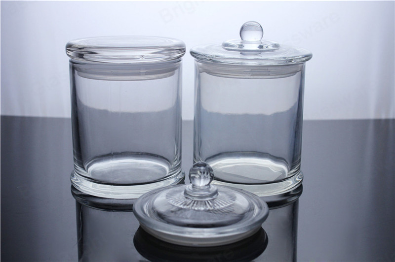 small base tisza candle jars with knob lid clear
