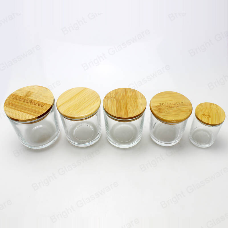 high quality round bamboo candle lids with rubber ring