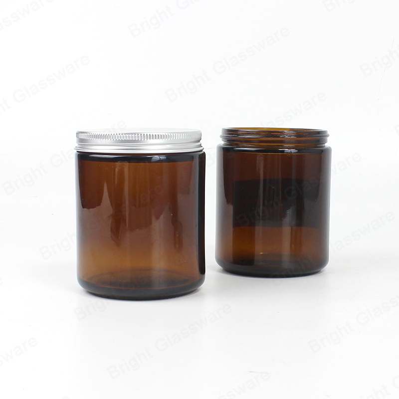 straight sided 8 oz amber glass jars for candles with metal lid
