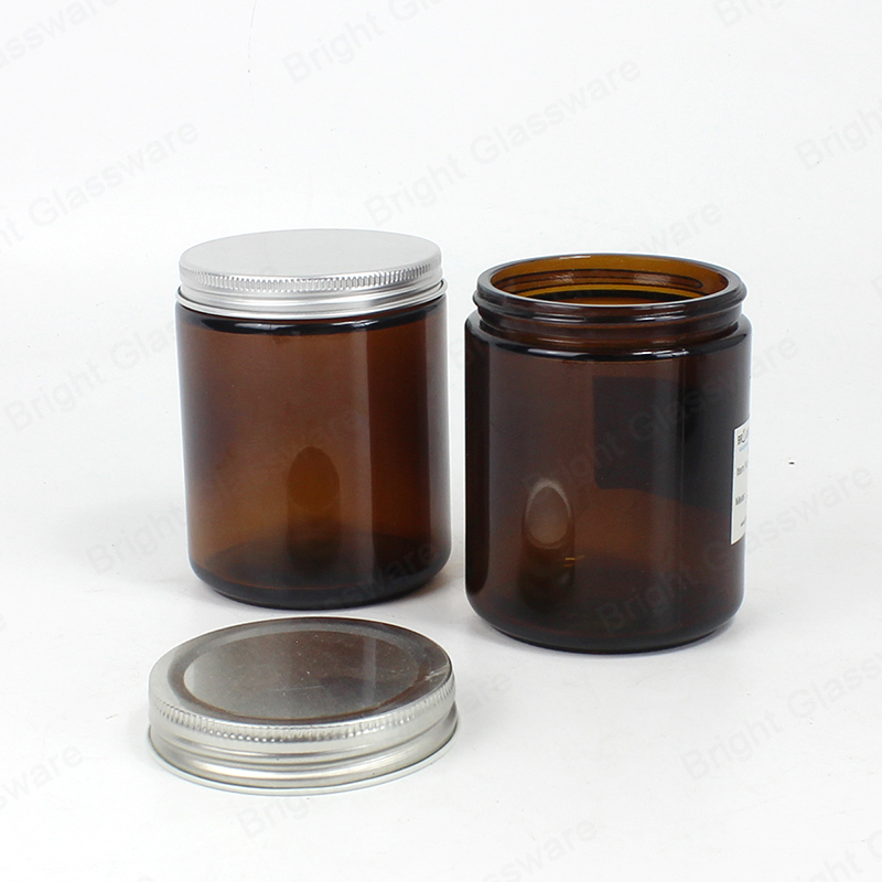 wide mouth 8 oz amber glass cosmetic jars with aluminum lid