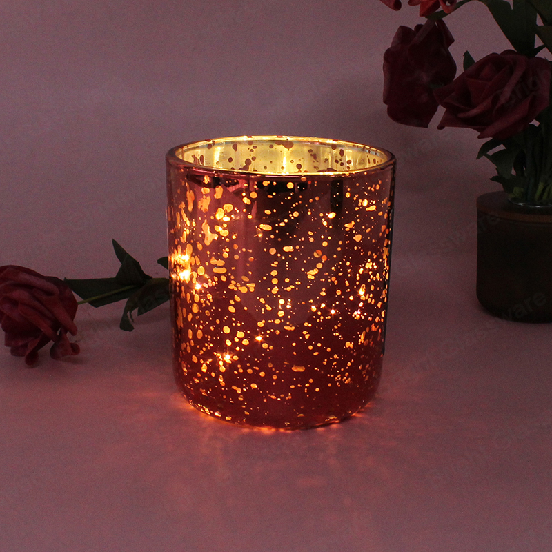 Red Empty Speckled Glass Candle Jar Votive for Wedding Parties and Home Decor