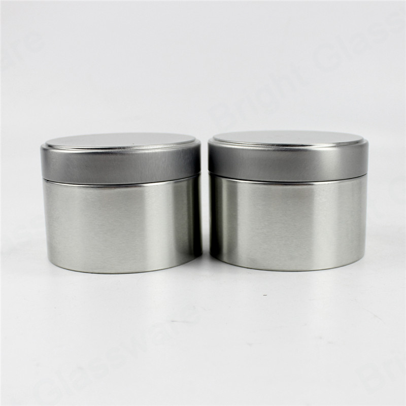 silver color deep seamless 8 oz flat tin container with slip cover