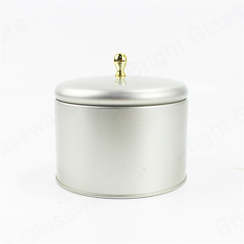 home decoration round metal tins with lids for candles making
