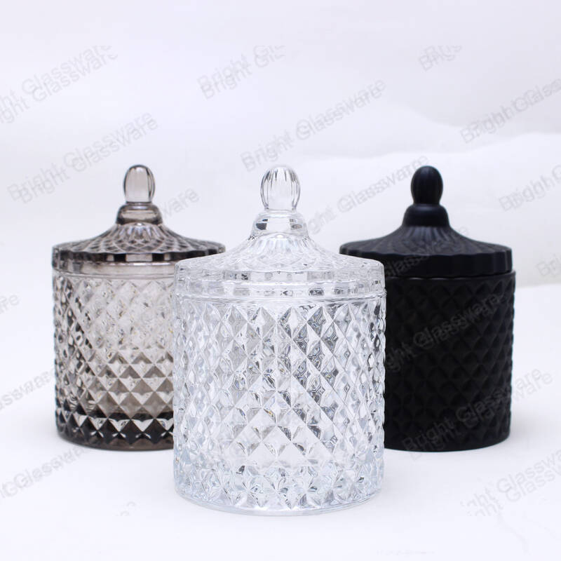 modern home decoration glass geometric candle jars with lid