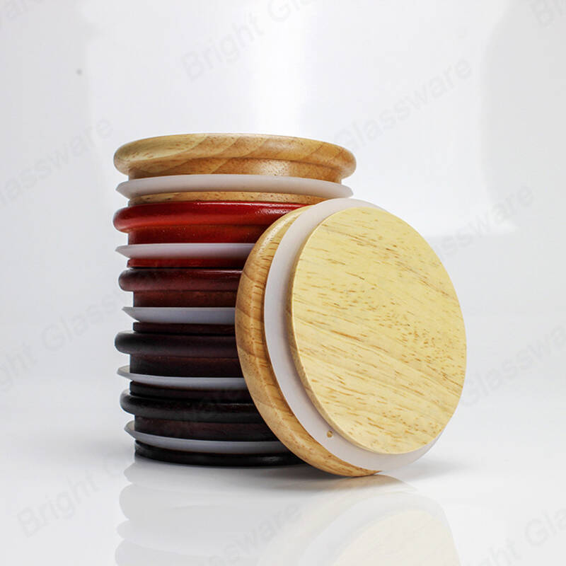 Custom sealed wooden candle lids for Glass candle jars storage jars