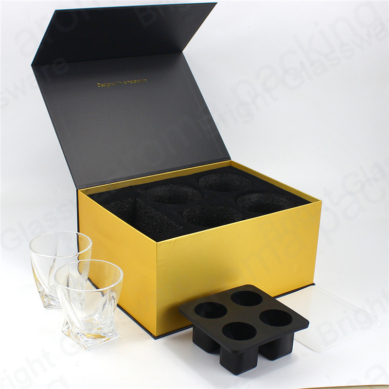 High quality crystal glasses whisky tumbler gift set with packaging box