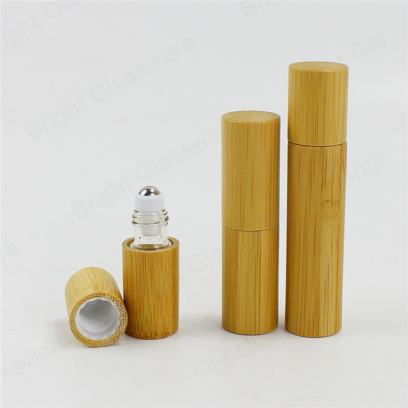 empty bamboo roll on bottle with stainless steel roller ball