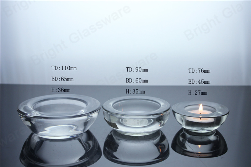 Clear thick glass tealight holders