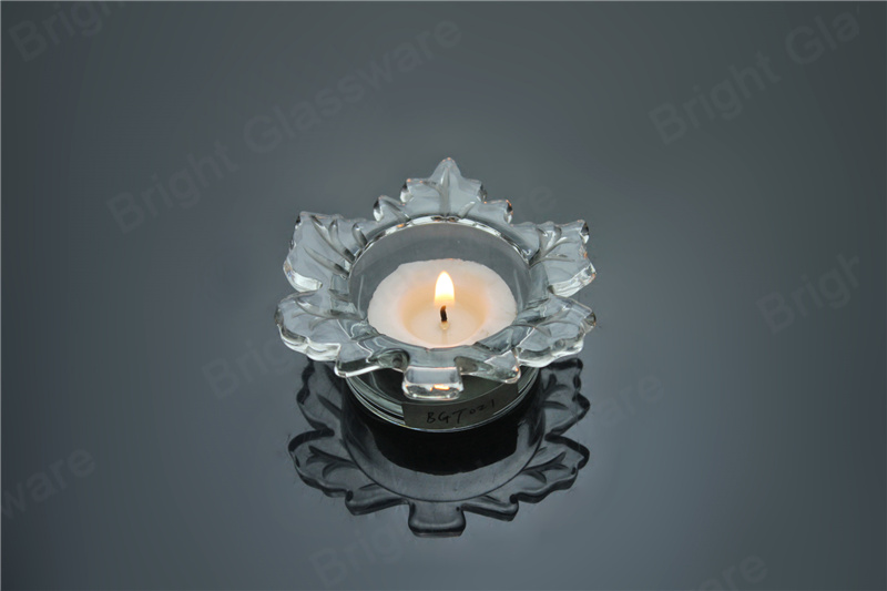Leaf Shaped Glass Tealight Candle Holder