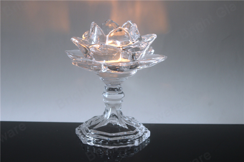 large crystal lotus flower candle holder with glass stand