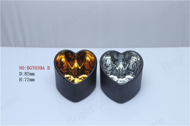 wedding table centerpieces decoration glass electroplating gold silver heart shaped votive candle holders