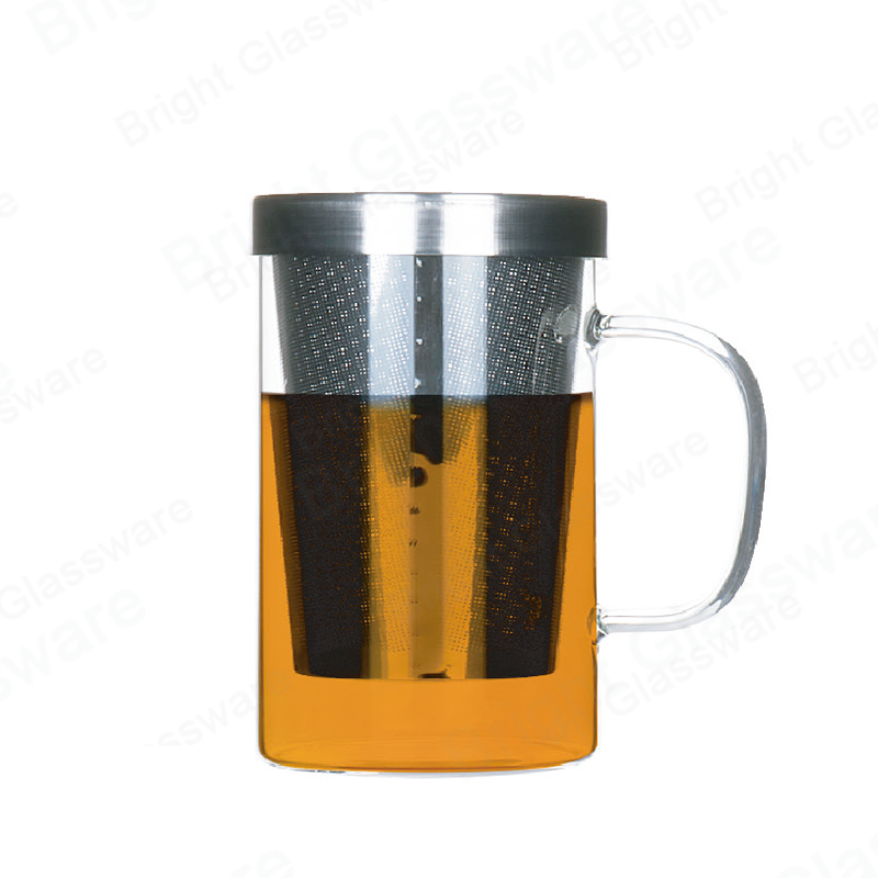 12oz 17oz glass cup with infuser borosilicate glass tea mug with stainless steel strainer and lid