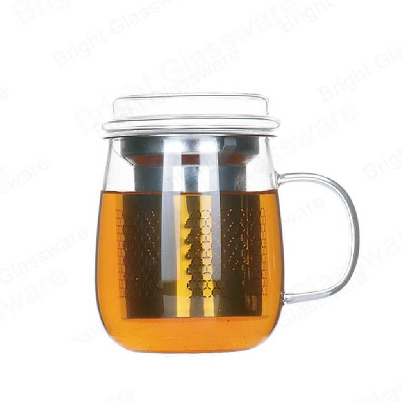 450ml borosilicate heat resistant glass tea cup with infuser and lid