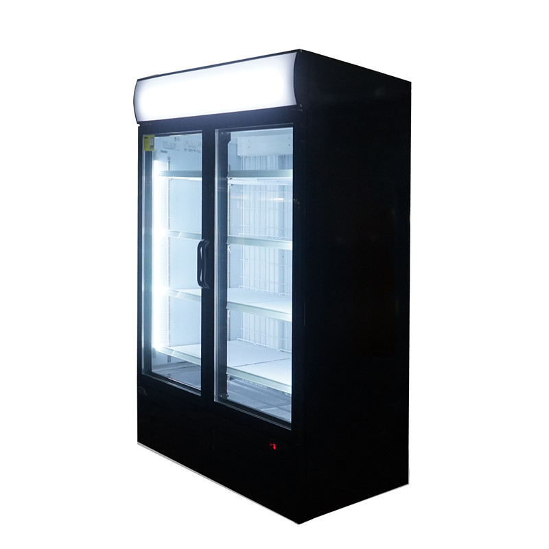 Double Door Upright Freezer Commercial Display Freezer